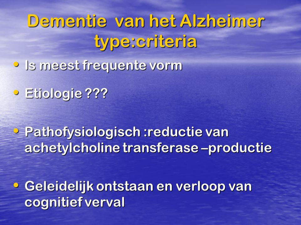 Dementie van het Alzheimer type:criteria