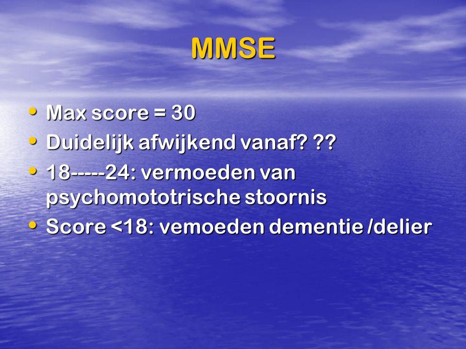 MMSE Max score = 30 Duidelijk afwijkend vanaf