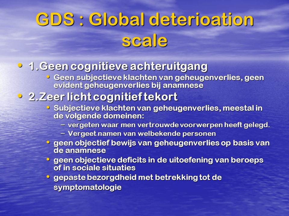 GDS : Global deterioation scale