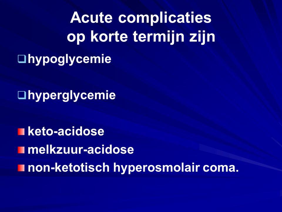 Acute complicaties op korte termijn zijn