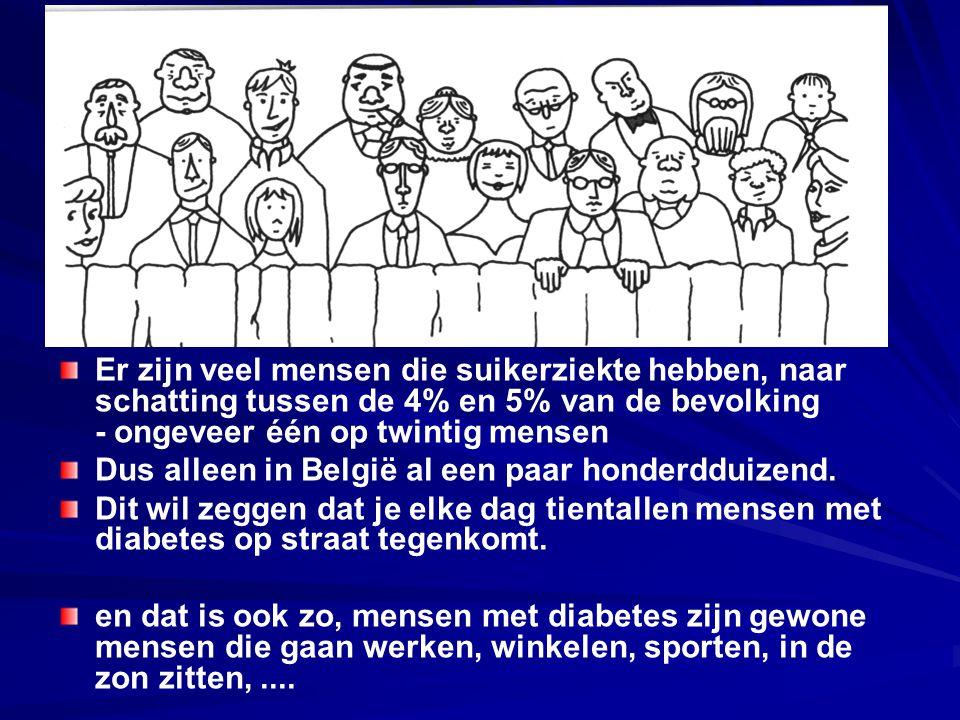 Er zijn veel mensen die suikerziekte hebben, naar schatting tussen de 4% en 5% van de bevolking - ongeveer één op twintig mensen