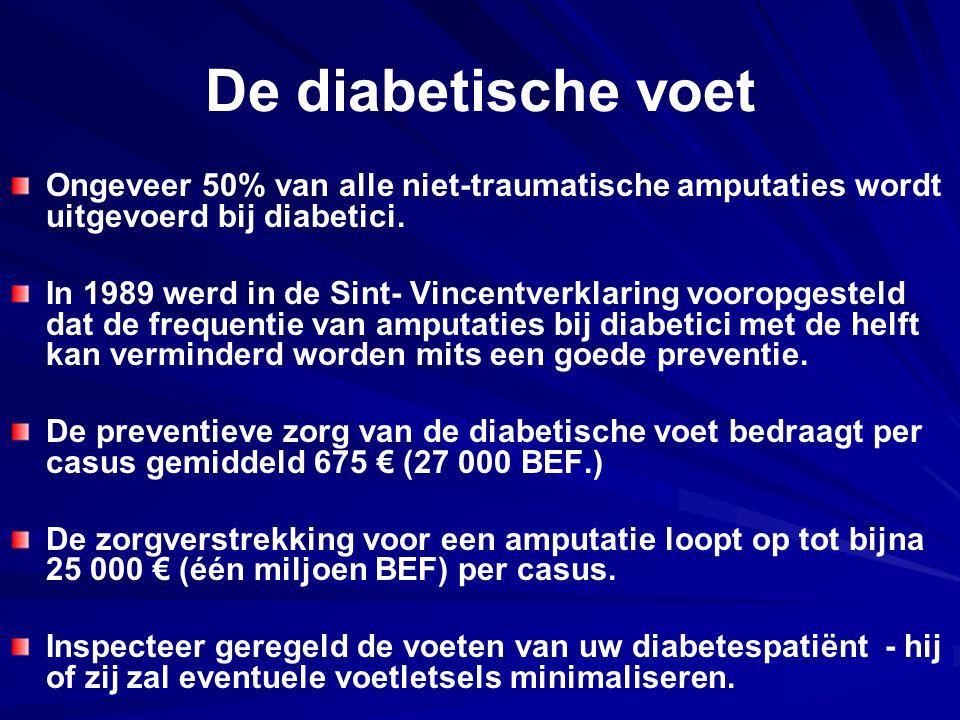 De diabetische voet Ongeveer 50% van alle niet‑traumatische amputaties wordt uitgevoerd bij diabetici.