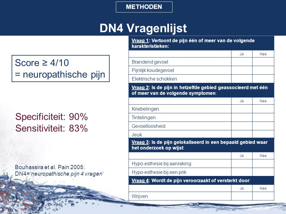 DN4 Vragenlijst Score ≥ 4/10 = neuropathische pijn Specificiteit: 90%