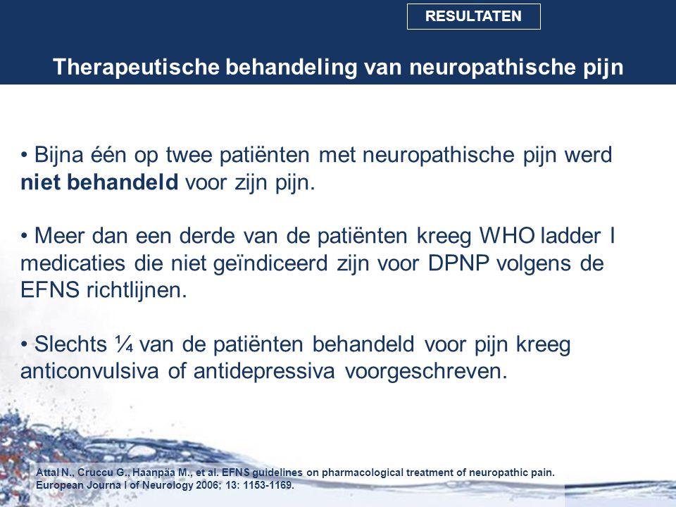 Therapeutische behandeling van neuropathische pijn