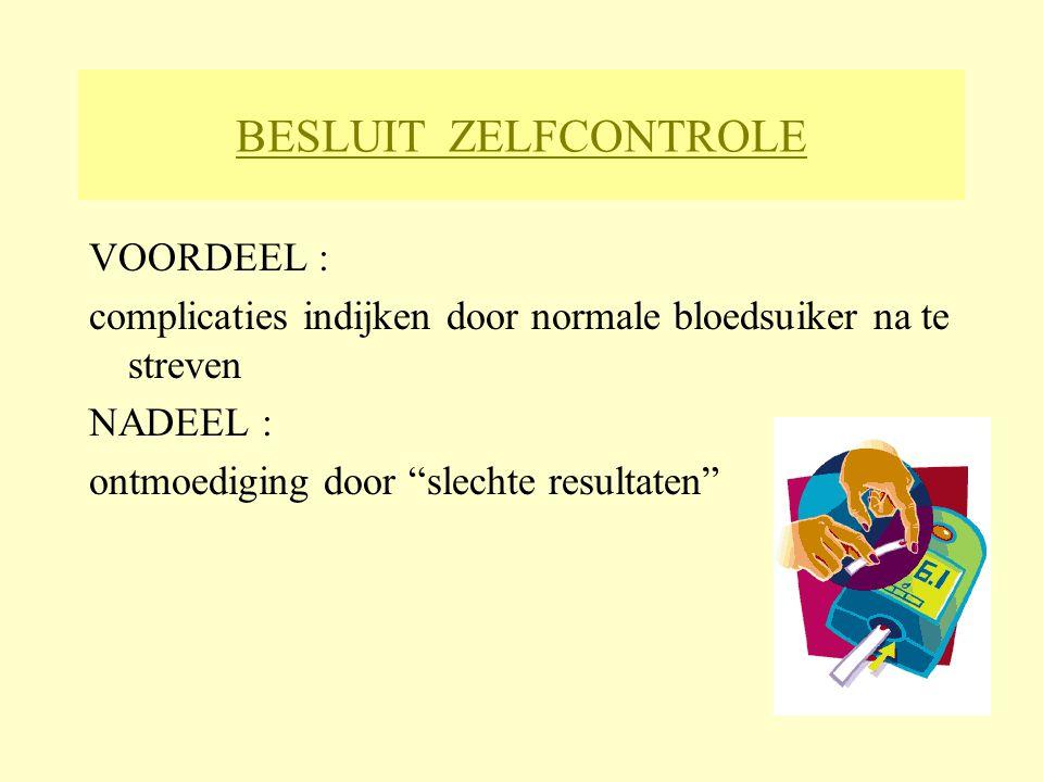 BESLUIT ZELFCONTROLE VOORDEEL :