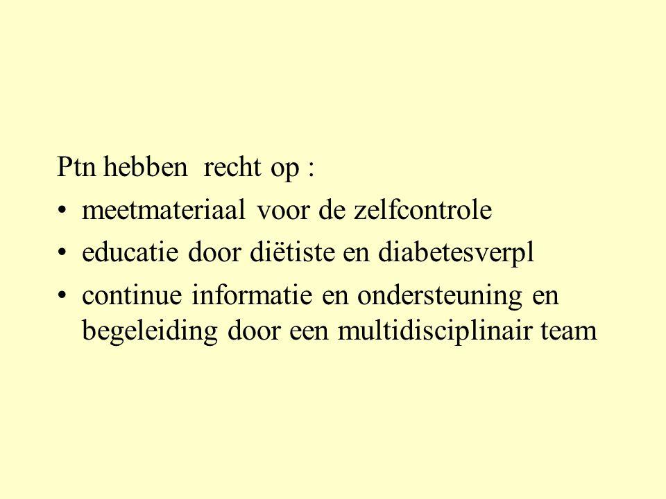 Ptn hebben recht op : meetmateriaal voor de zelfcontrole. educatie door diëtiste en diabetesverpl.