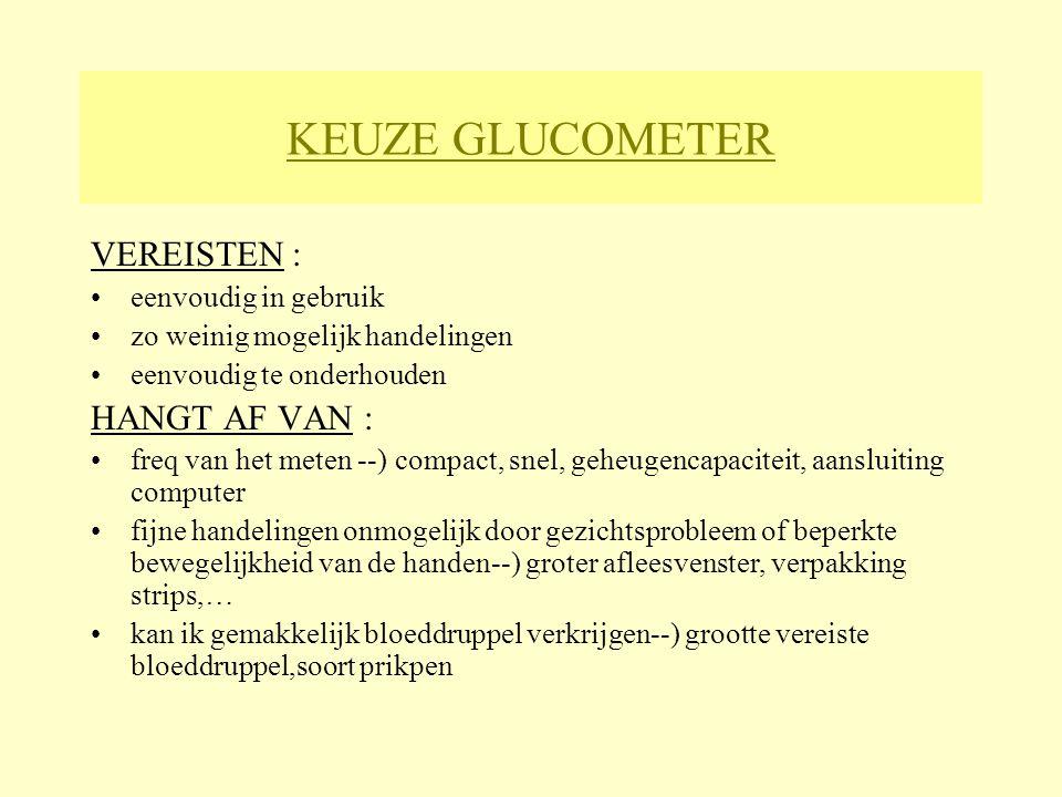 KEUZE GLUCOMETER VEREISTEN : HANGT AF VAN : eenvoudig in gebruik