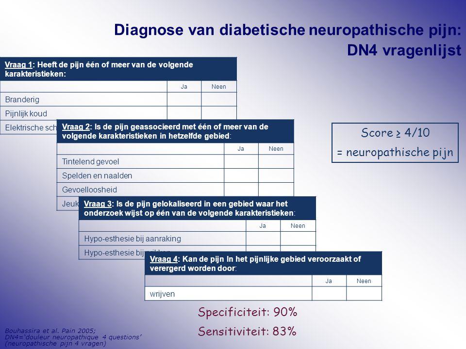 Diagnose van diabetische neuropathische pijn: DN4 vragenlijst