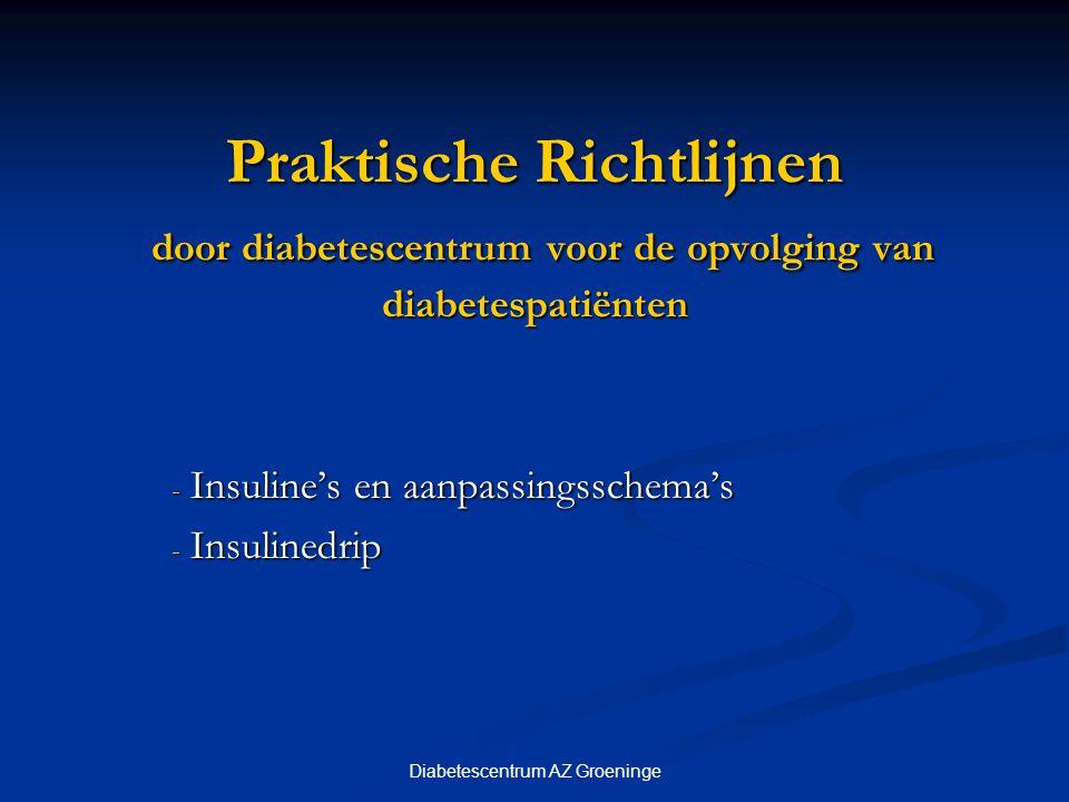 Insuline's en aanpassingsschema's Insulinedrip