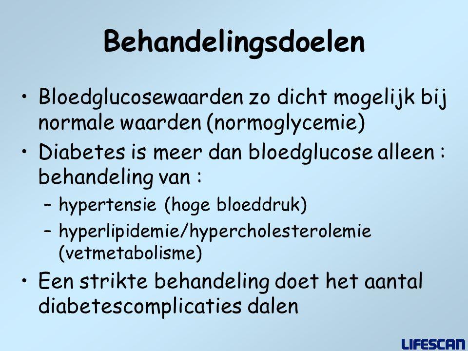 Behandelingsdoelen Bloedglucosewaarden zo dicht mogelijk bij normale waarden (normoglycemie)