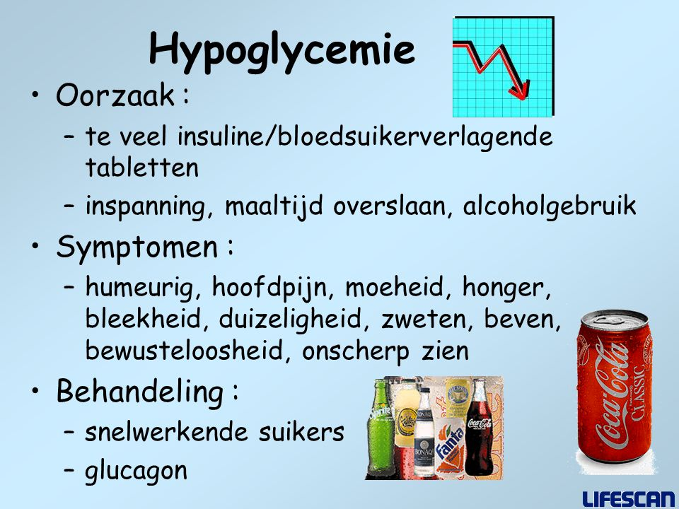 Hypoglycemie Oorzaak : Symptomen : Behandeling :