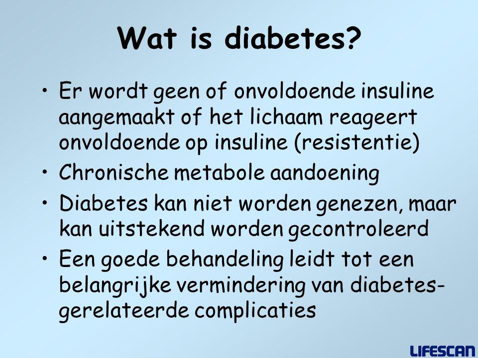Wat is diabetes Er wordt geen of onvoldoende insuline aangemaakt of het lichaam reageert onvoldoende op insuline (resistentie)