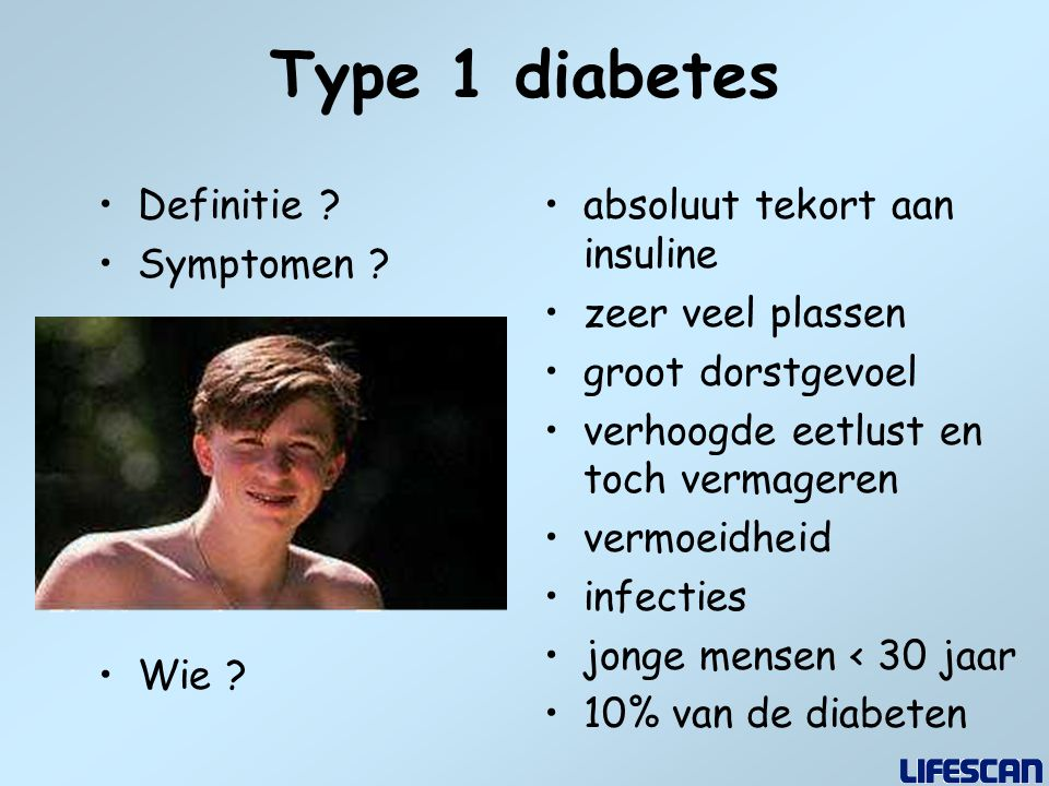 Type 1 diabetes Definitie Symptomen Wie