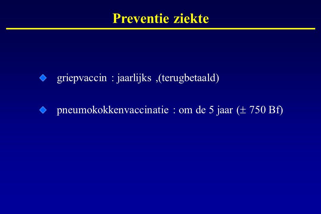 Preventie ziekte griepvaccin : jaarlijks ,(terugbetaald)
