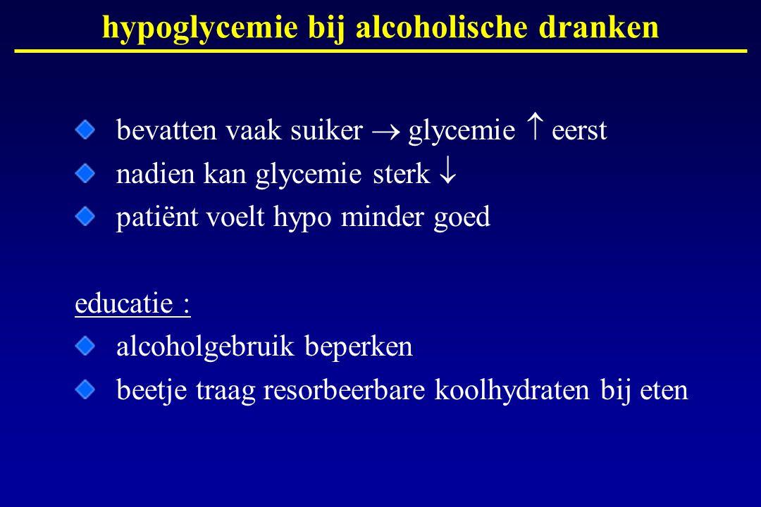 hypoglycemie bij alcoholische dranken