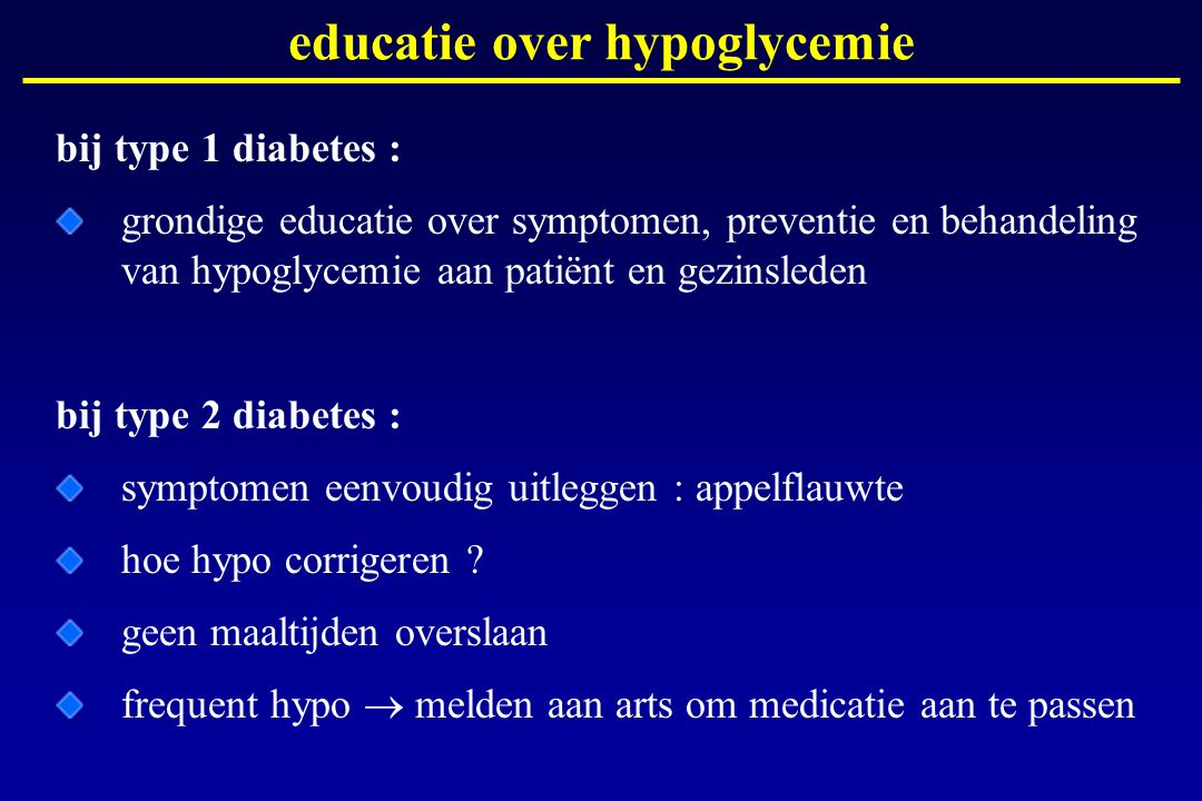 educatie over hypoglycemie