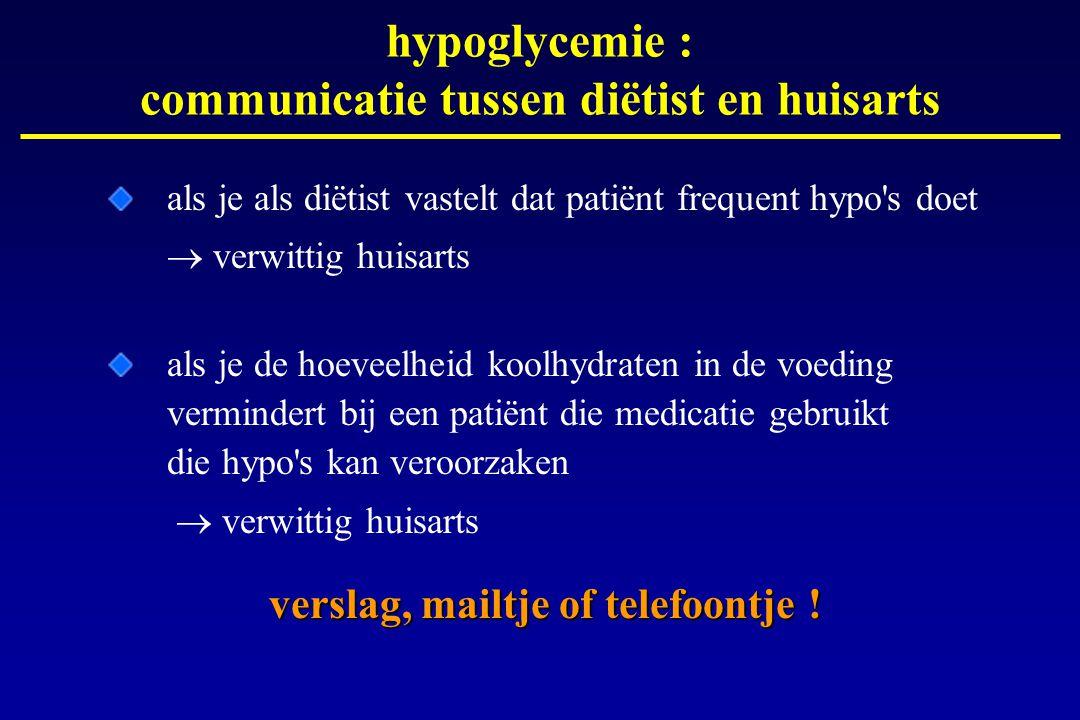 hypoglycemie : communicatie tussen diëtist en huisarts