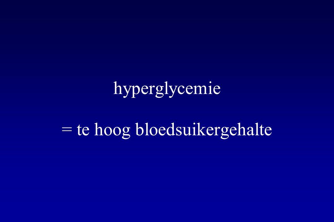 hyperglycemie = te hoog bloedsuikergehalte