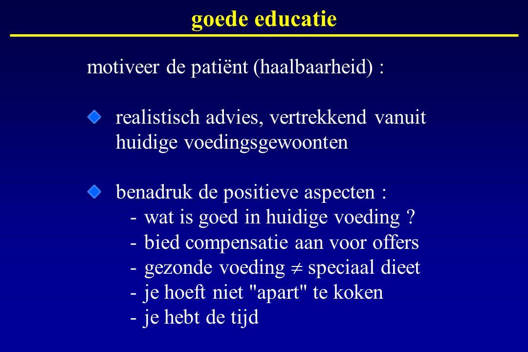goede educatie motiveer de patiënt (haalbaarheid) :