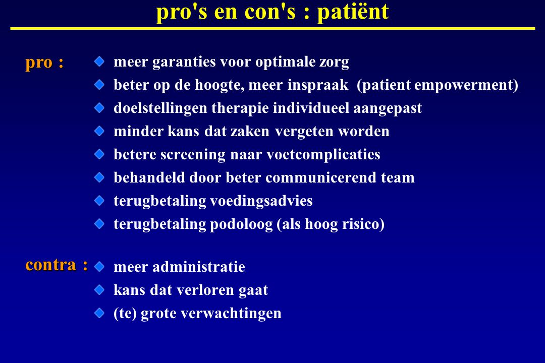 pro s en con s : patiënt pro : contra :