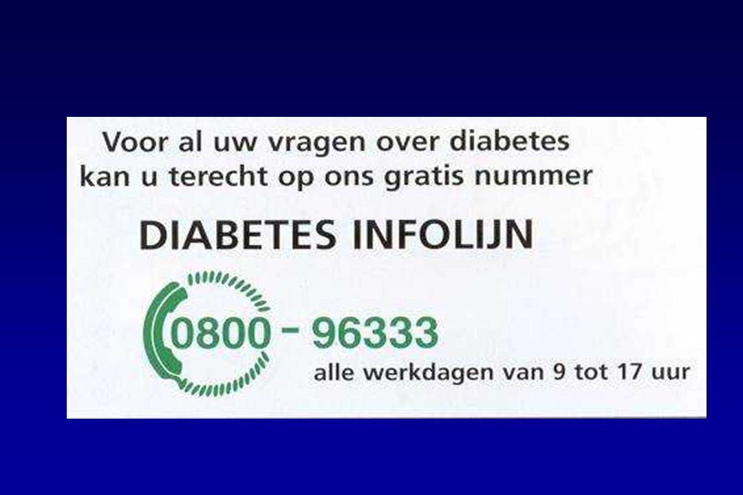 De Diabetes Infolijn is een gratis nummer, waar in discretie antwoorden gegeven worden en info wordt opgestuurd.