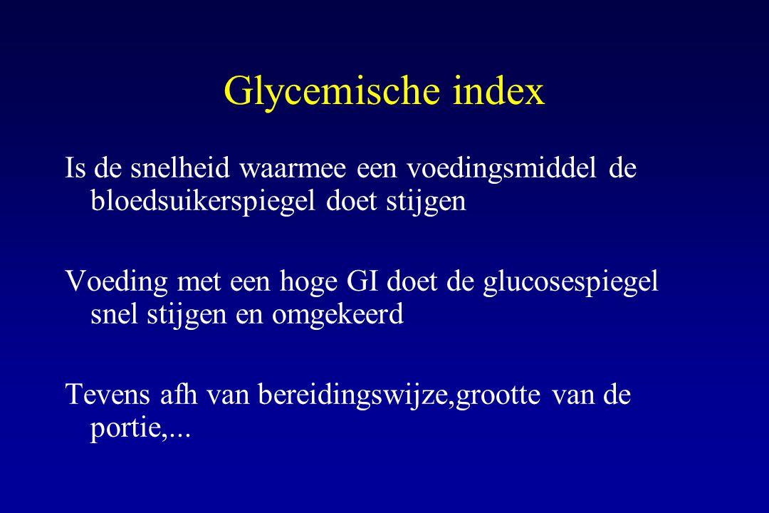 Glycemische index Is de snelheid waarmee een voedingsmiddel de bloedsuikerspiegel doet stijgen.
