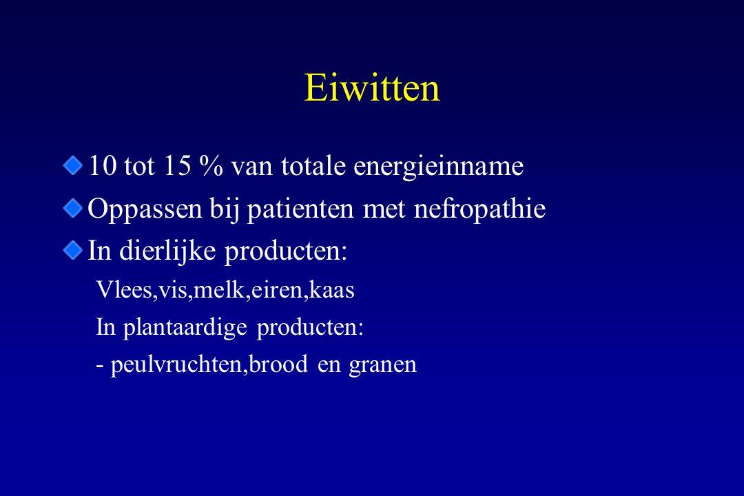 Eiwitten 10 tot 15 % van totale energieinname