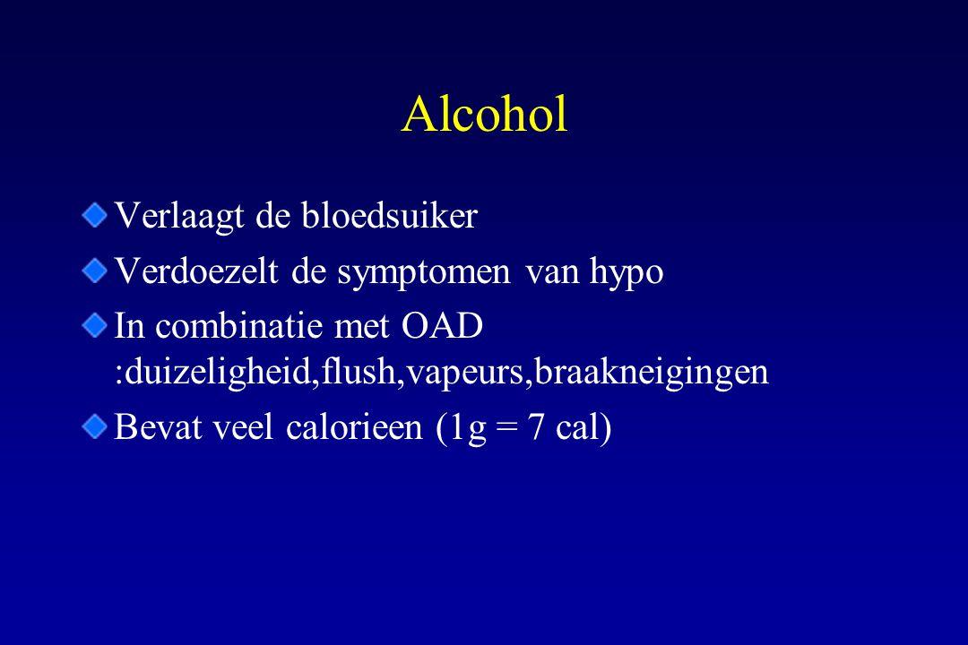 Alcohol Verlaagt de bloedsuiker Verdoezelt de symptomen van hypo