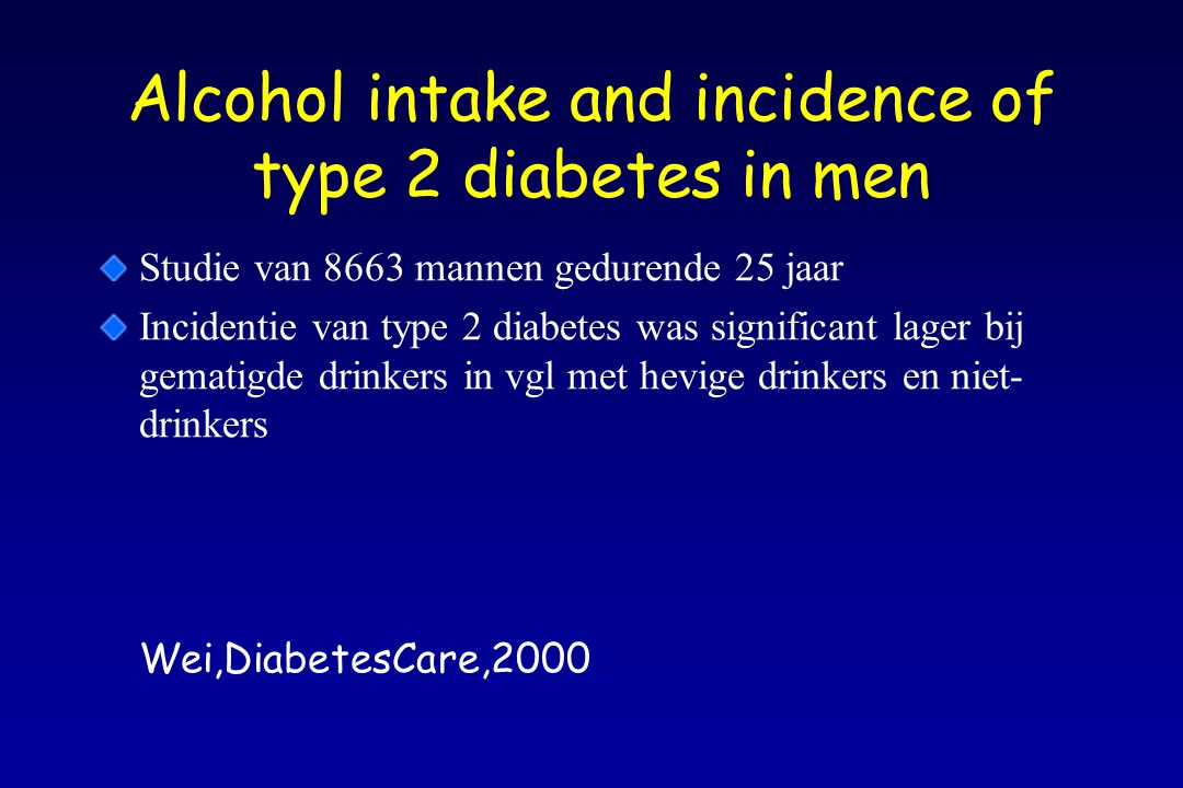 Alcohol intake and incidence of type 2 diabetes in men
