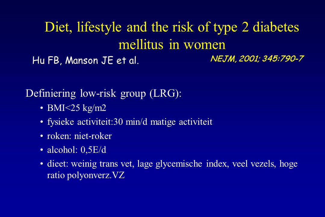 Diet, lifestyle and the risk of type 2 diabetes mellitus in women