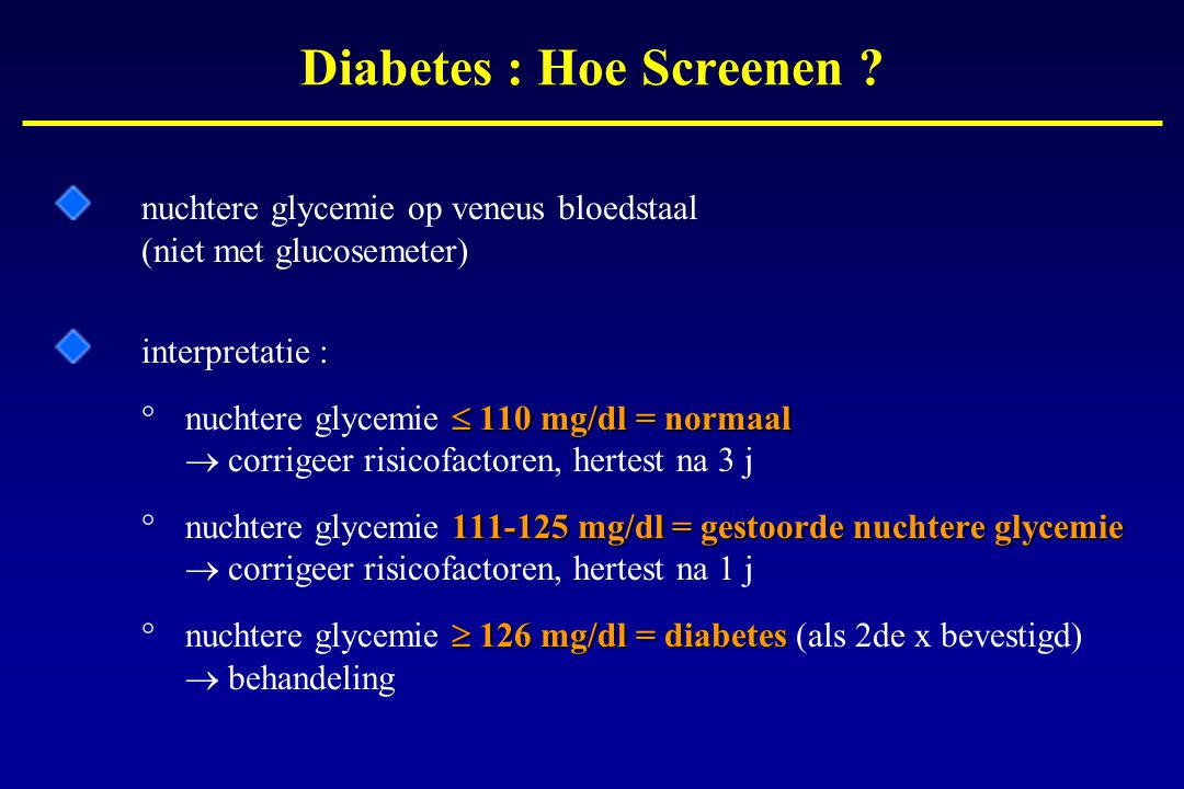 Diabetes : Hoe Screenen