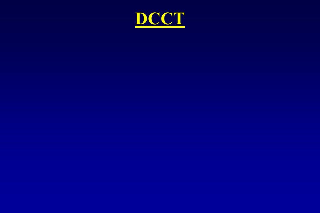 DCCT Hoe lager HbA1c hoe minder risisco op complicaties maar geen toename van hypofrequentie