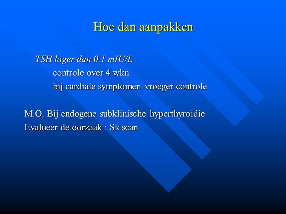 Hoe dan aanpakken TSH lager dan 0.1 mIU/L controle over 4 wkn
