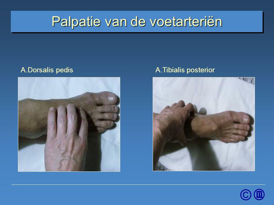 Palpatie van de voetarteriën