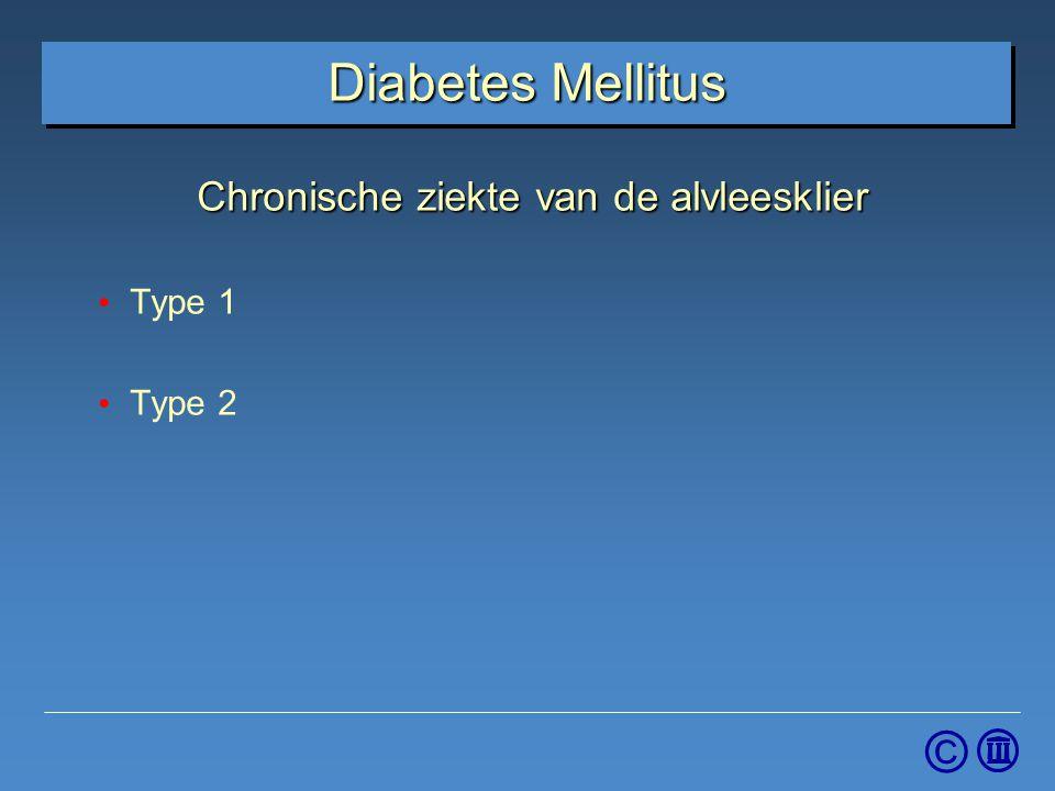 Chronische ziekte van de alvleesklier Type 1 Type 2