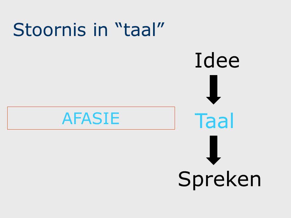 Stoornis in taal Idee AFASIE Taal Spreken