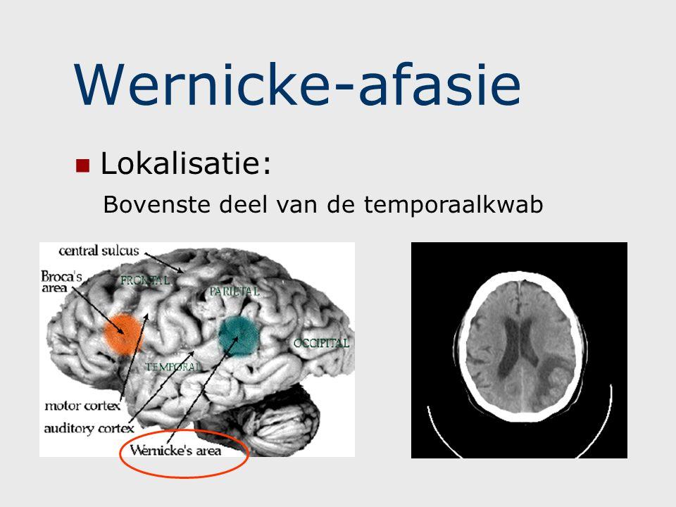 Wernicke-afasie Lokalisatie: Bovenste deel van de temporaalkwab