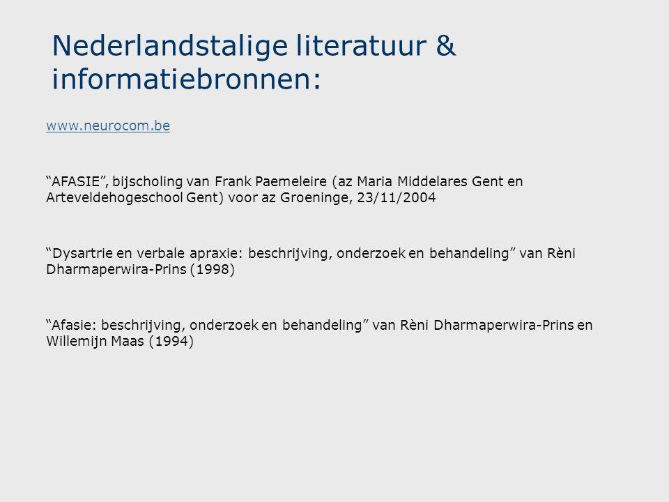 Nederlandstalige literatuur & informatiebronnen: