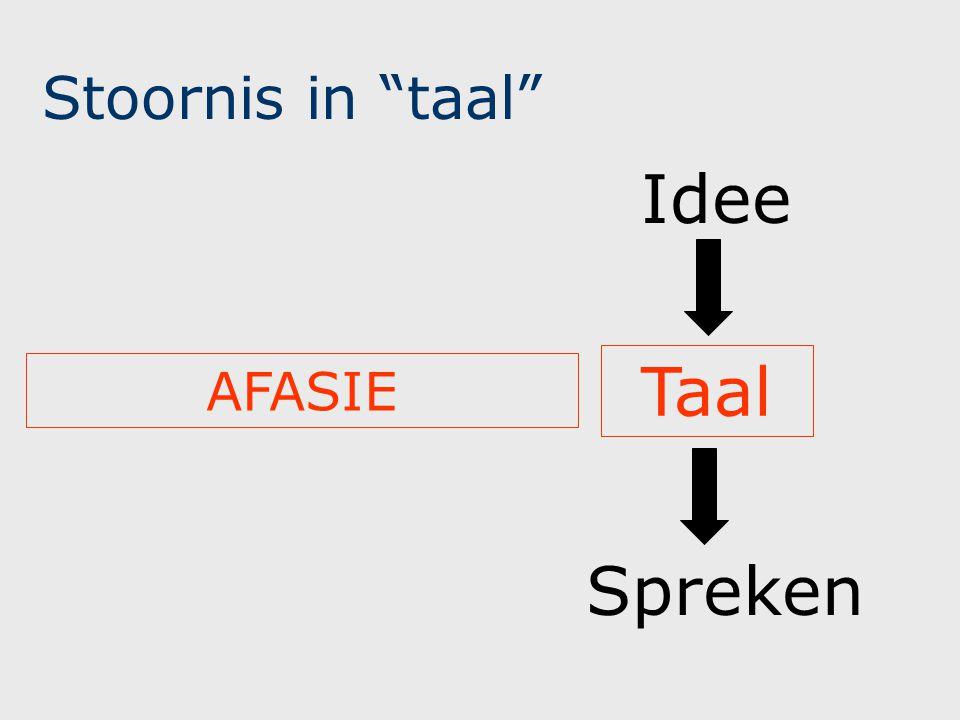 Stoornis in taal Idee Taal AFASIE Spreken
