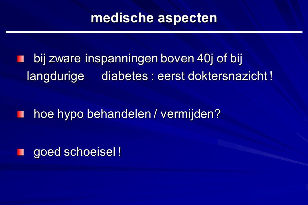 medische aspecten bij zware inspanningen boven 40j of bij langdurige diabetes : eerst doktersnazicht !