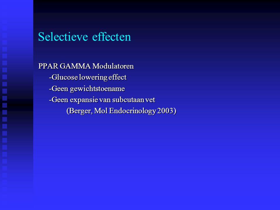 Selectieve effecten PPAR GAMMA Modulatoren -Glucose lowering effect