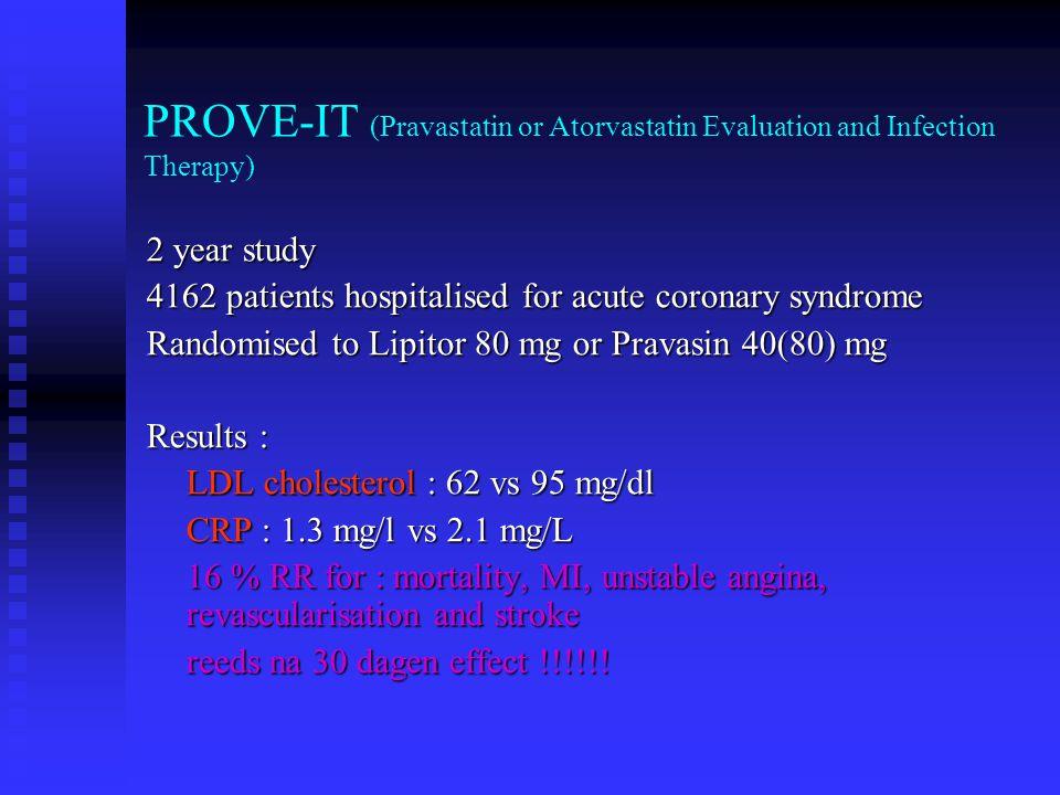 PROVE-IT (Pravastatin or Atorvastatin Evaluation and Infection Therapy)