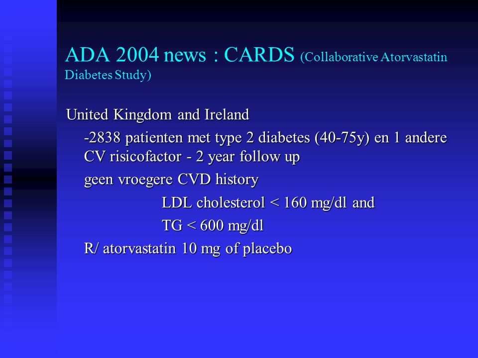 ADA 2004 news : CARDS (Collaborative Atorvastatin Diabetes Study)
