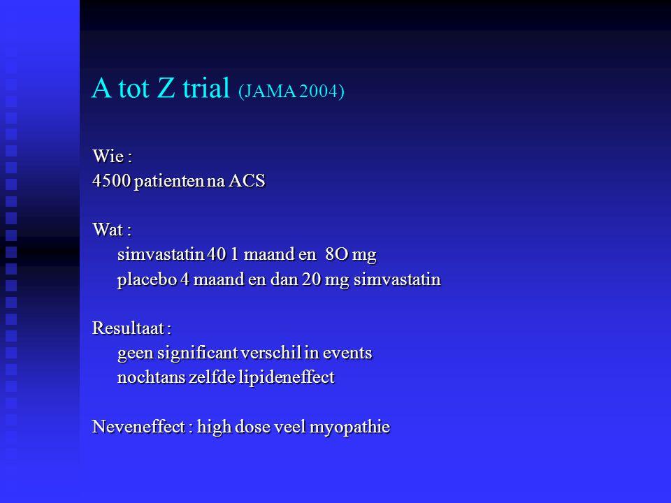 A tot Z trial (JAMA 2004) Wie : 4500 patienten na ACS Wat :