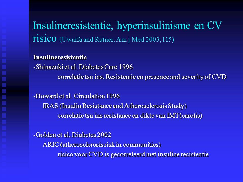 Insulineresistentie, hyperinsulinisme en CV risico (Uwaifa and Ratner, Am j Med 2003;115)