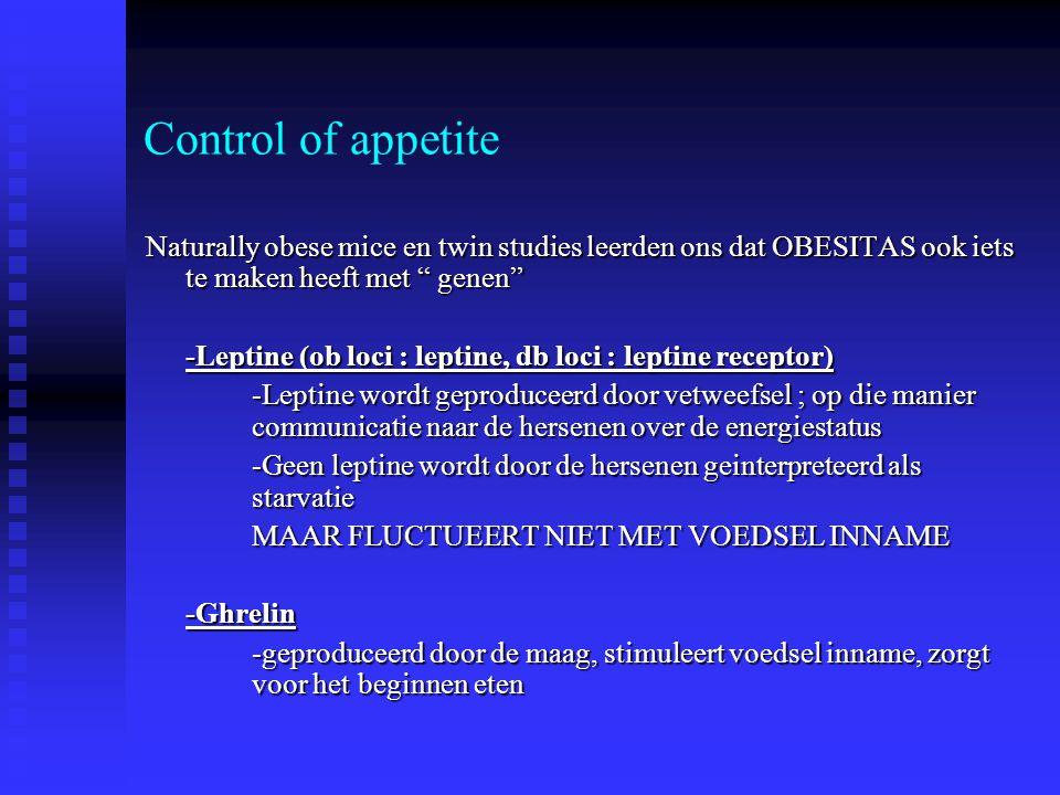 Control of appetite Naturally obese mice en twin studies leerden ons dat OBESITAS ook iets te maken heeft met genen