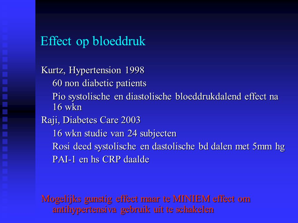 Effect op bloeddruk Kurtz, Hypertension 1998 60 non diabetic patients