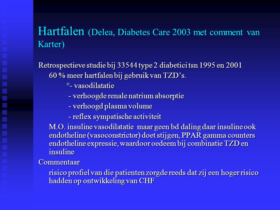 Hartfalen (Delea, Diabetes Care 2003 met comment van Karter)