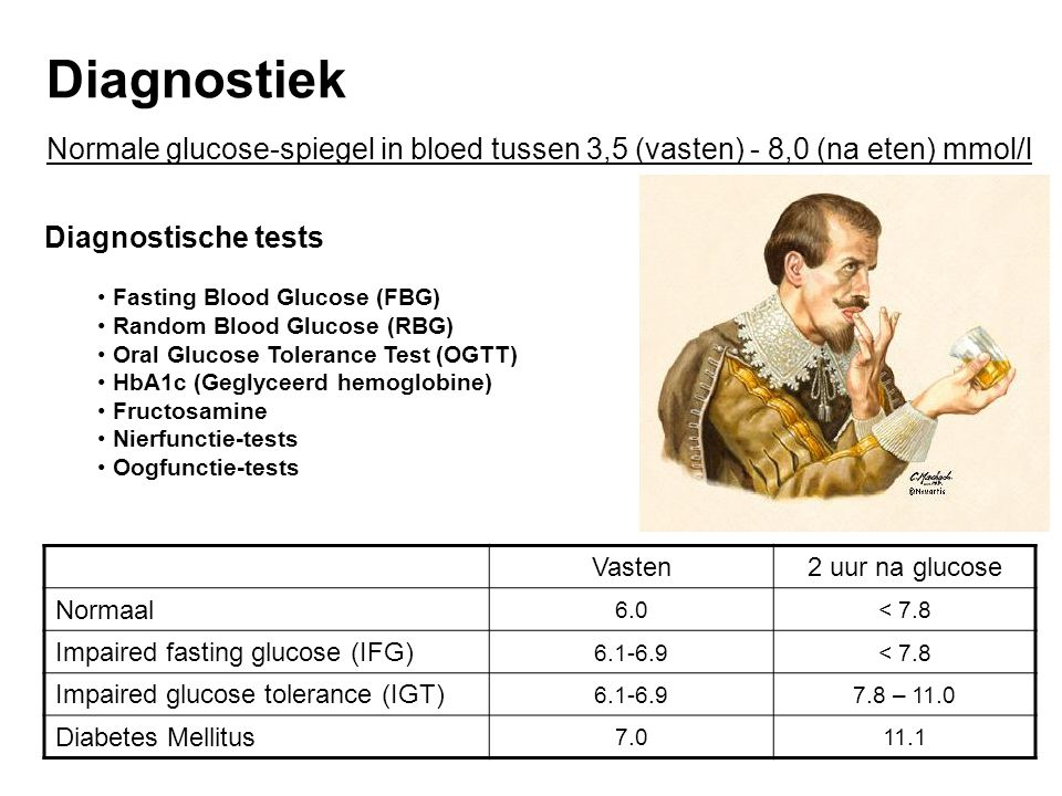 Diagnostiek Normale glucose-spiegel in bloed tussen 3,5 (vasten) - 8,0 (na eten) mmol/l. Diagnostische tests.