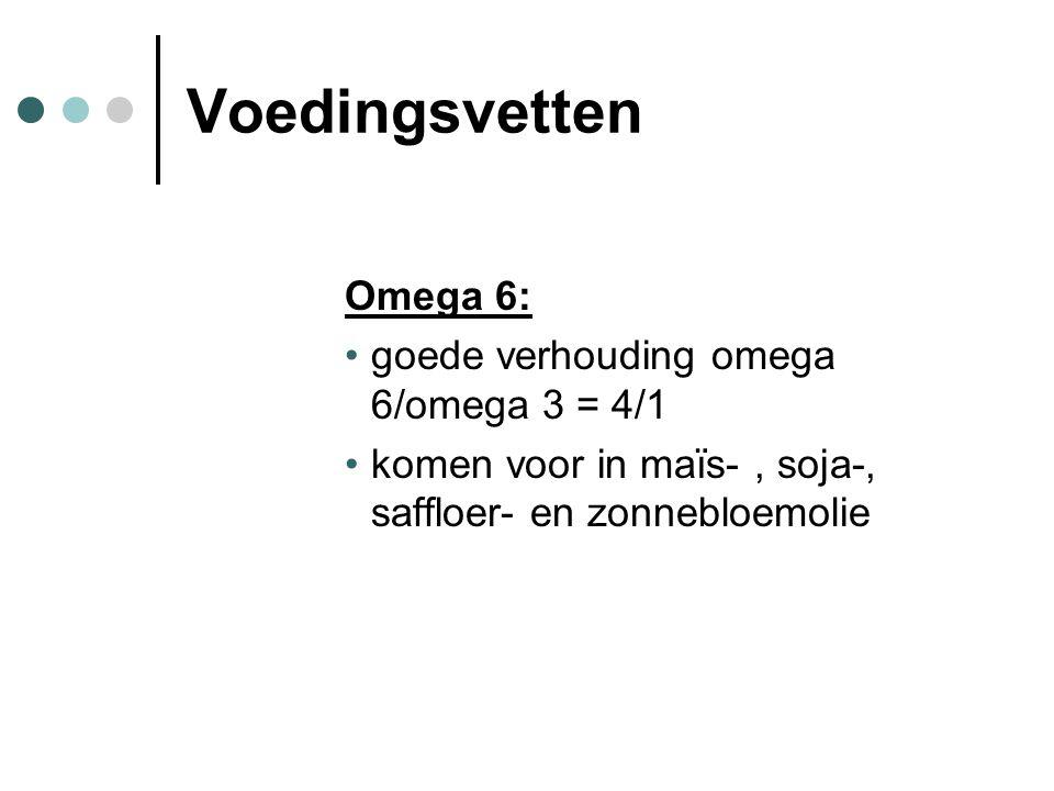 Voedingsvetten Omega 6: goede verhouding omega 6/omega 3 = 4/1